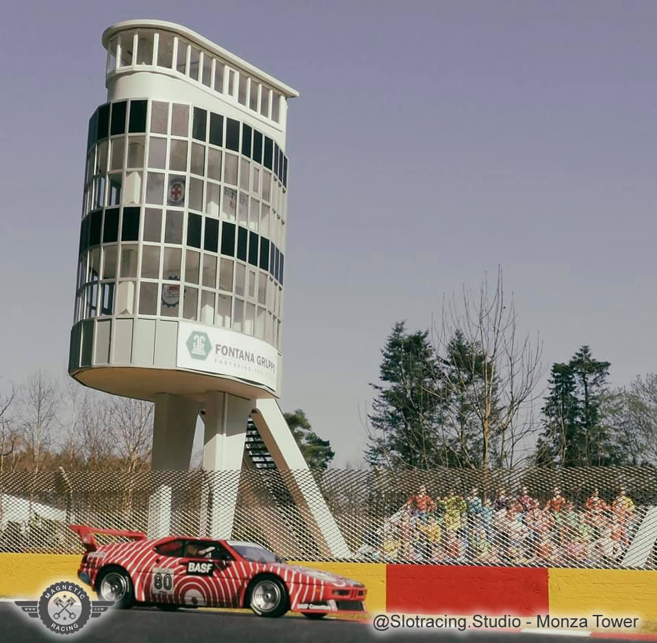 monze tower in 1:32 scale perfect scalextric building, from Magnetic Racing