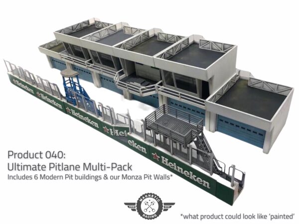 #040 Ultimate Pit Pack - Scalextric pit buildings and podium and pit walls 1:32 scale